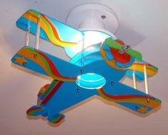 Fotos de Luminaria avião biplano para decoração de quarto infantil, bebê e criança Uberlândia de cor azul e vermelha para quarto infantil masculino