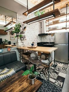 A Rustic Industrial Studio Unit Condo Interior Design, Condo Design, Interior Livingroom, Interior Ideas, Design Design, Farmhouse Style House Decor, Farmhouse Windows, Rustic Cottage, Rustic Kitchen