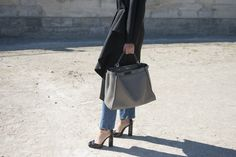 Pin for Later: Proof the Prettiest Street Style Accessories Were at Paris Fashion Week Day 4 Fendi bag and Gucci shoes.