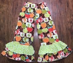 Girls Ruffled Boutique Pants Size 4 Apples Polka Dots  Fall. Colors New    eBay