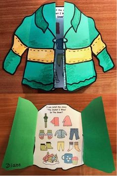 "Snow-themed activities: Cute jacket craft that helps students retell the story ""The Jacket I Wear In The Snow"" by Shirley Neitzel."