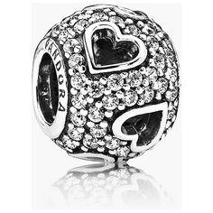 Women's PANDORA 'Tumbling Hearts' Charm (3.895 RUB) ❤ liked on Polyvore featuring jewelry, pendants, pandora jewelry, pandora jewellery, heart shaped jewelry, pave jewelry и heart jewelry