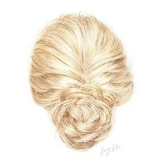 Hair Updo Drawing, an art print by Emmy Kalia (100 CNY) ❤ liked on Polyvore featuring hair