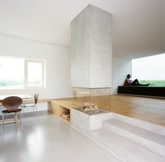 Amazing glass fireplace.