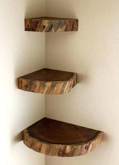 9 Lively Cool Ideas: Floating Shelf Decor Doors floating shelves bedroom the doors.Black Floating Shelves Built Ins staggered floating shelf decor.How To Build Floating Shelves Woodworking. Diy Corner Shelf, Corner Wall Shelves, Wall Shelves Design, Live Edge Shelves, Corner Wall Decor, Diy Wood Shelves, Wall Shelving, Rustic Shelves, Rustic Corner Shelf