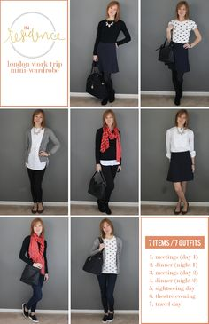 Travel Wardrobe Capsule Outfits, Fashion Capsule, Capsule Wardrobe, Capsule Clothing, Voyager Léger, Travel Capsule, Work Travel, Travel Style, Travel Tips