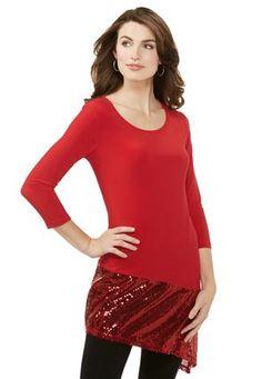 Cato Fashions Sequin Bordered Asymmetrical Tunic-Plus #CatoFashions