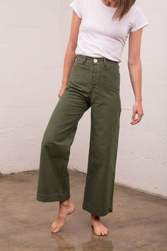 green sailor pant