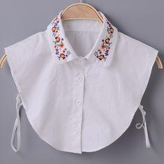 זול אופנה כל התאמה סתיו וחורף 100% כותנה רקמה לבנה חולצה עיטור צווארון שווא צווארון o   צוואר חינם משלוח, לקנות איכות צעיפי ישירות מספקי סין: פרטי מוצר