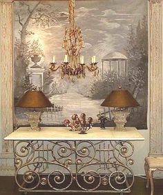 Antique Tiles, Antique Paint, French Wallpaper, Interior Design And Construction, Antique French Furniture, Grisaille, Paint Effects, French Decor, Wall Murals