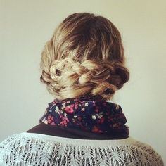 A braided updo.