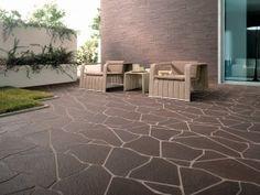 Mooie tegels voor het terras. Wel te donker. Modern Floor Tiles, Tile Floor, Apollo Bay, Porche, Outdoor Spaces, Outdoor Decor, Concorde, Design Moderne, Porcelain Tile