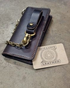 Long biker wallet with brass chain by Hollows Leather.