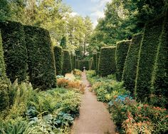A zigzag yew hedge designed by Erik Dhont leads from the Swiss Cottage guesthouse.