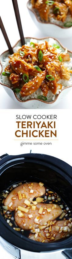 Slow Cooker Teriyaki Chicken -- all you need are 10 minutes to prep this delicious recipe, then let your slow cooker do the rest of the work!   gimmesomeoven.com
