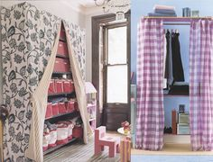 I have these racks in the room to the left... what a great idea to cover them up with a beautiful fabric! Want.