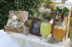 Eat, drink, and be MARRIED. Margarita and lemonade stand. Backyard rustic.