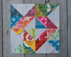 Another HST block--lovely fabric choices