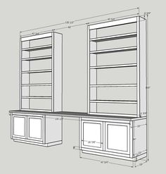 How do you secure built-in shelves into masonry walls? Megan Fitzpatrick tackles this question with her built-in shelves for an upcoming issue. Office Built Ins, Built In Desk, Built In Bookcase, Built In Cabinets, Office Cabinets, Bookcases, Home Office Space, Home Office Design, Home Office Decor