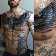 Angel Wings God Anubis Mens Upper Chest Tattoo Designs