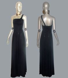 Vintage Black One Shoulder Braided Shirred Strap by anvintro, $300.00