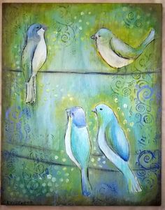 4210db8b0 Four Blue Birds on a Wire Aqua and Lime Painting by SummerHouseGal