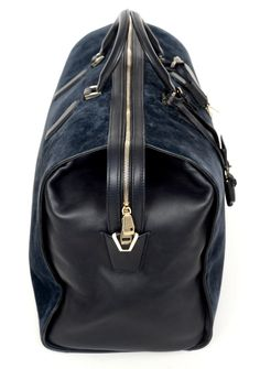 BRIONI Blue Suede Leather Boston Duffle Bag |