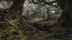 Forest environment concept, Sergey Vasnev on ArtStation at https://www.artstation.com/artwork/9ONaO