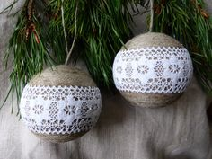 Linen / lace christmas ornaments set of 2 by domekdecor on Etsy, $30.00