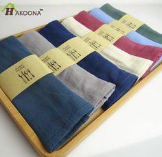 HAKOONA 100%  Linen Napkins Simple  Navy Blue  Cotton  Cloth Tea Towel Western  Table Napkin Placemat Wipe Cloth