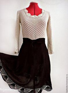 """Вязаное шёлковое платье """"Страдивари"""" - чёрно-белый,платье,платье летнее"""
