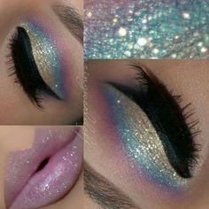 Unicorn makeup Unicorn Eyeshadow, Pastel Eyeshadow, Holographic Eyeshadow, Unicorn Lipstick, Unicorn Nails, Glitter Eyeshadow, Blue Glitter Eye Makeup, Eyeshadow Looks, Contour Eyeshadow
