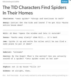 The TID characters find spiders in their homes