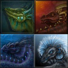 Elemental dragon sketches by ArtOfWarStudios.deviantart.com on @DeviantArt
