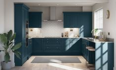 Our Mornington Shaker collection is a charming staple for any home. Blue Shaker Kitchen, Blue Kitchen Cabinets, Shaker Style Kitchens, Dark Blue Kitchens, Replacement Kitchen Doors, Blue Kitchen Designs, Real Kitchen, Kitchen Trends, Kitchen Ideas