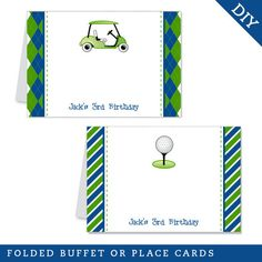 Navy Golf Party Buffet Cards (Digital File)