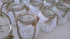 Hanging lantern with vintage lace and burlap by kokkiniklosti Candles And Candleholders, Small Leaf, Hanging Lanterns, Leaf Pendant, Vintage Lace, Handicraft, Mason Jars, Burlap, Candle Holders