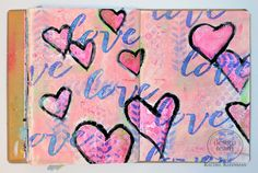 Celebrate Valentine's Day with your art journal with the vivid pink Bubble Gum Gelatos®. It's also perfect that Design Memory Craft has this 'love' stencil that is used throughout the entire page. The background of the page was all about adding texture. We also used a variety of Mixed Media Stencils with Guava, Boysenberry, Kiwi, and Strawberry Gelatos®, Whipped Spackle, and Pearl Texture Luxe™. Once the texture layer was all dry, paint hearts with a brush and Chalkboard Paint.