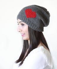 Valentines gift idea. Knit heart hat.