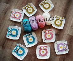 Margarita de ganchillo, crochet el buho, crochet cuadrado buho, buho flores, abuela cuadrados, cuadrada especial abuela, patrón - descargar INSTANT