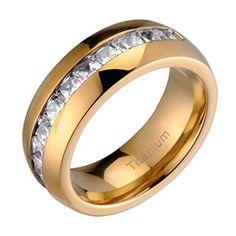 Mens Titanium Golden Ion Plated Dome High Polish Princes JewelryWedding JewelryLighterGroomsPolishUnisexEngagement RingsStainless
