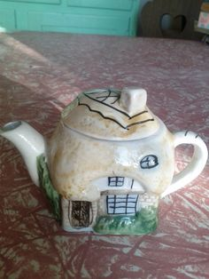 Cottage teapot. Little house miniature thatched roof fairytale style home. Mad tea party. Alice in Wonderland. White rabbit's house.. $10.00, via Etsy.
