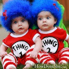 DIY Halloween Costumes - babies, thing 1 & thing 2