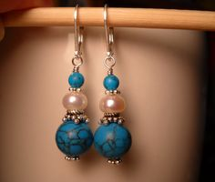 Earrings with turquoise & pearl. Sterling silver findings. By MyPrettyEarrings