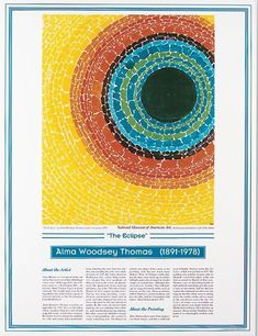 Knowledge Unlimited Inc. African American Artists Poster - Alma Woodsey Thomas - The Eclipse African American Artist, American Artists, African Art, Color Art Lessons, Alma Thomas, Art Activities For Kids, Preschool Art, Teaching Art, Teaching Ideas