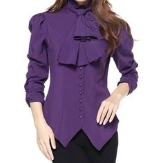 -Pearl Goddess- Pearl Button Victorian Gothic Vintage Style Purple... ($30) ❤ liked on Polyvore featuring tops, blouses, button up blouse, shirt blouse, pearl button up shirts, gothic shirts and gothic blouse