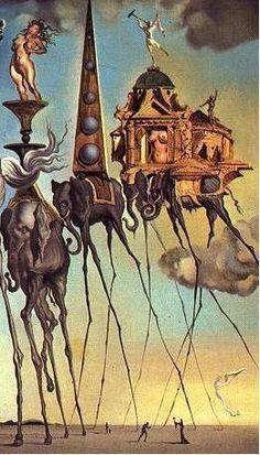 Surrealismo: A imagem da peça icônica de Salvador Dalí, nomeada Elefante 3, representa o movimento surrealista pelas suas características que misturam ambiênte de fantasia com elementos da realidade, a representação de uma atmosfera de sonho e elementos que dão sensação de ilusão de ótica.