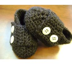 Brown baby boy booties, infant shoes newborn-12 months