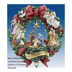 "Nativity Wreath: ""Glory to the Newborn King"" - wreath based upon the art and design of Thomas Kinkade, via hubpages"