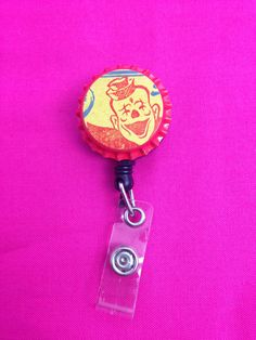 Red Clown Bottle Cap Retractable Badge Holder by GraysonsHome on Etsy